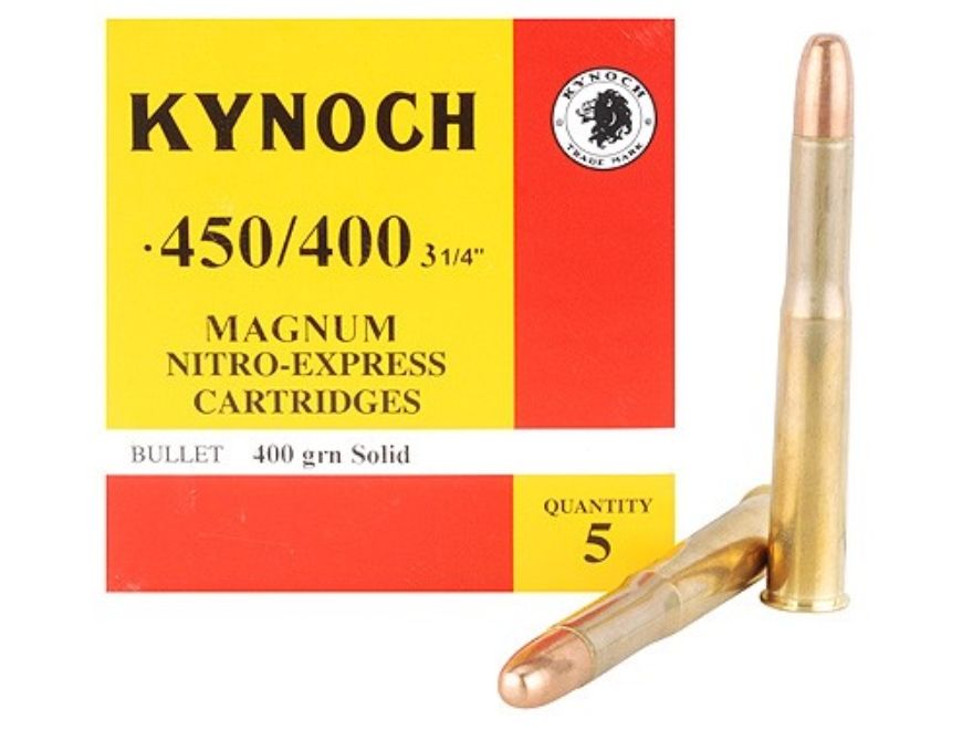 "Kynoch Ammunition 450-400 Nitro Express 3-1/4"" (408 Diameter) 400 Grain Woodleigh Weldcore Solid Box of 5"