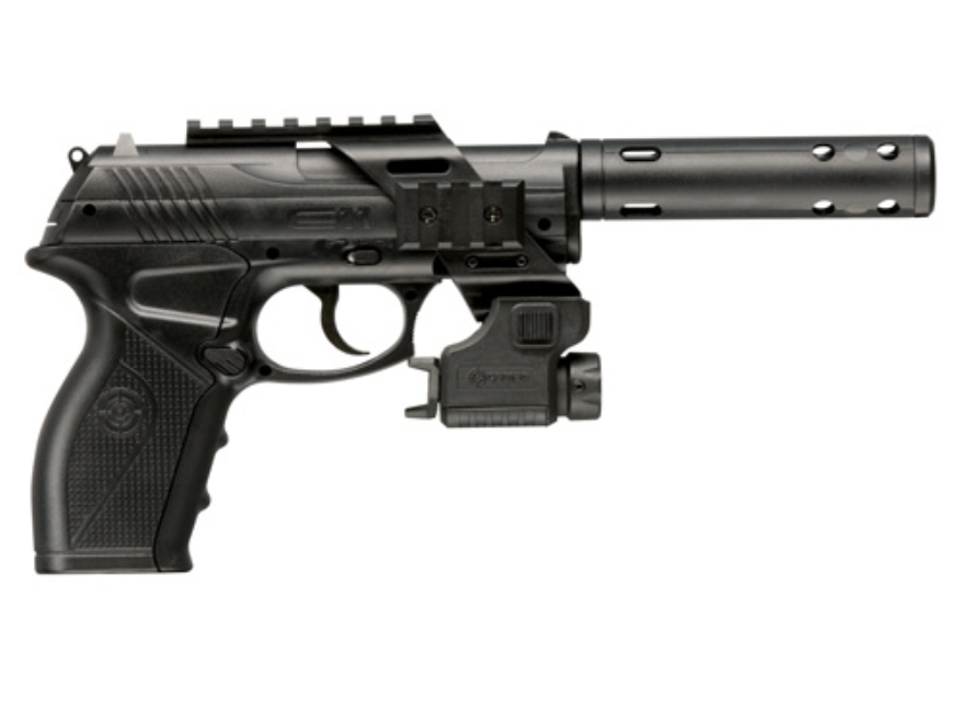 Crosman C11 Tactical Air Pistol .177 Caliber CO2 Semi-Automatic Polymer Stock Black