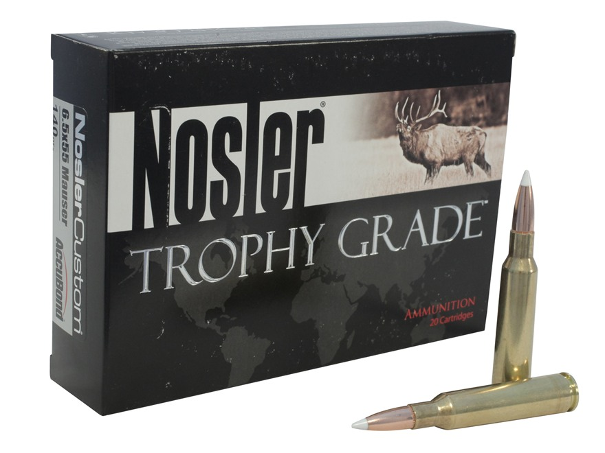 Nosler Trophy Grade Ammunition 6.5x55mm Swedish Mauser 140 Grain AccuBond Spitzer Box of 20