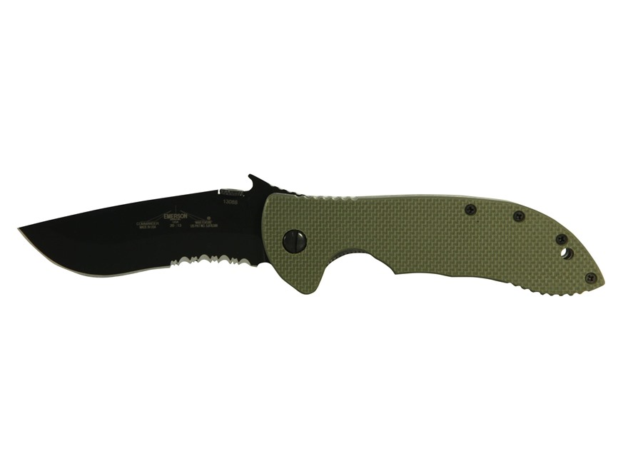"Emerson Jungle Commander Folding Tactical Knife 3.75"" Commander 154CM Stainless Blade G-10 Handle Green"