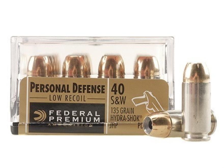 Federal Premium Personal Defense Reduced Recoil Ammunition 40 S&W 135 Grain Hydra-Shok ...