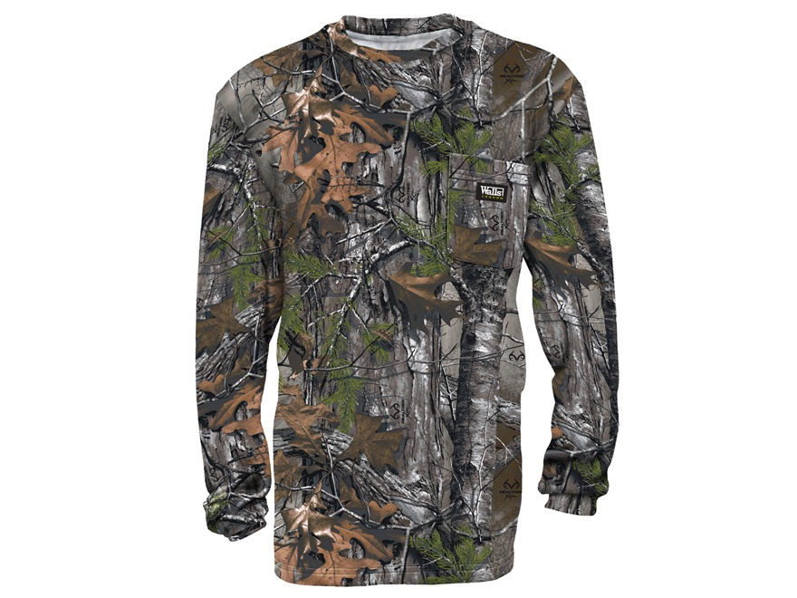 Walls Legend Men's Pocket T-Shirt Long Sleeve Cotton Realtree Xtra Camo XL 46-48