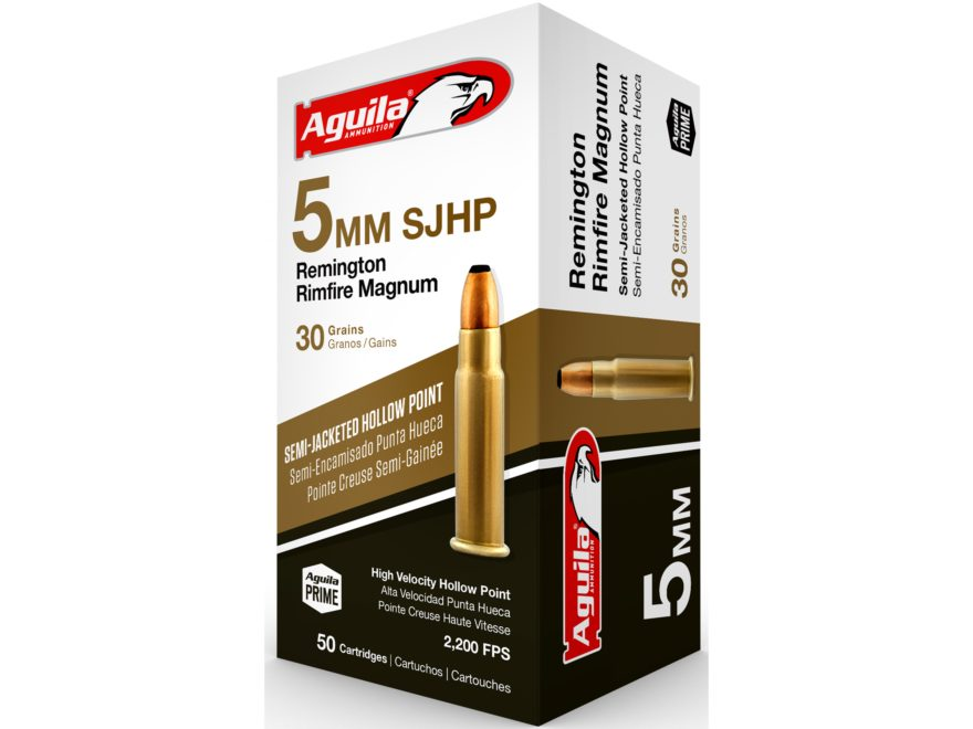 Aguila Ammunition 5mm Remington Magnum 30 Grain Jacketed Hollow Point Case of 1000 (20 Boxes of 50)