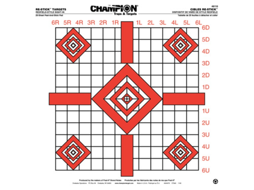"Champion Re-Stick Updated Redfield Sight-In Self-Adhesive Targets 16"" x 16"" Paper Pack ..."