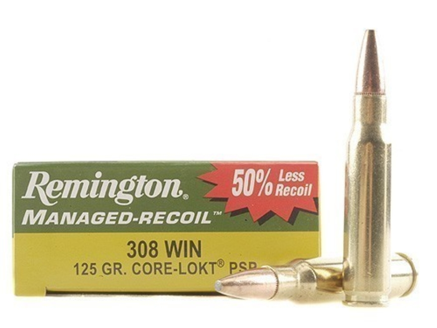 Remington Managed-Recoil Ammunition 308 Winchester 125 Grain Core-Lokt Pointed Soft Poi...