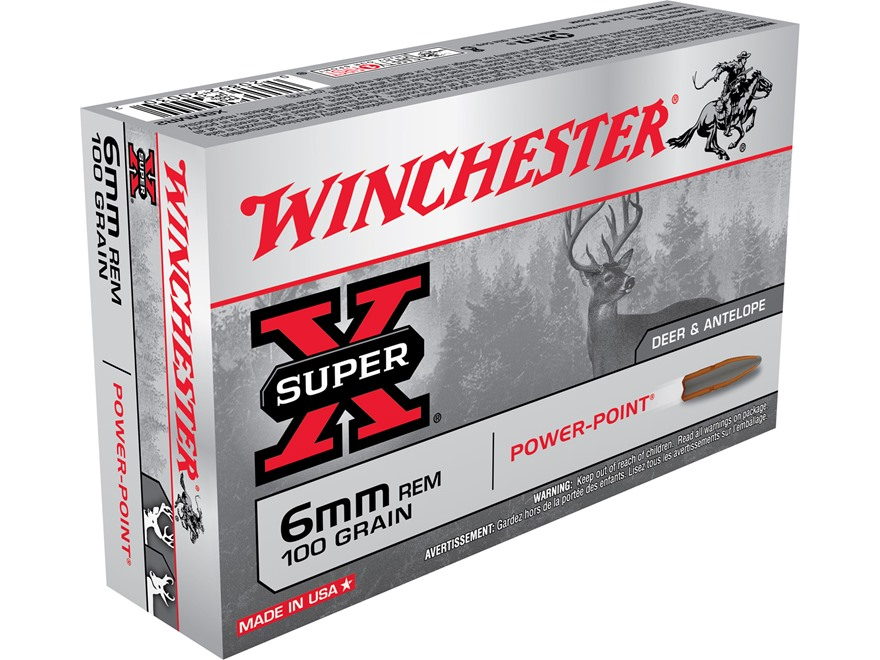 Winchester Super-X Ammunition 6mm Remington 100 Grain Power-Point Box of 20