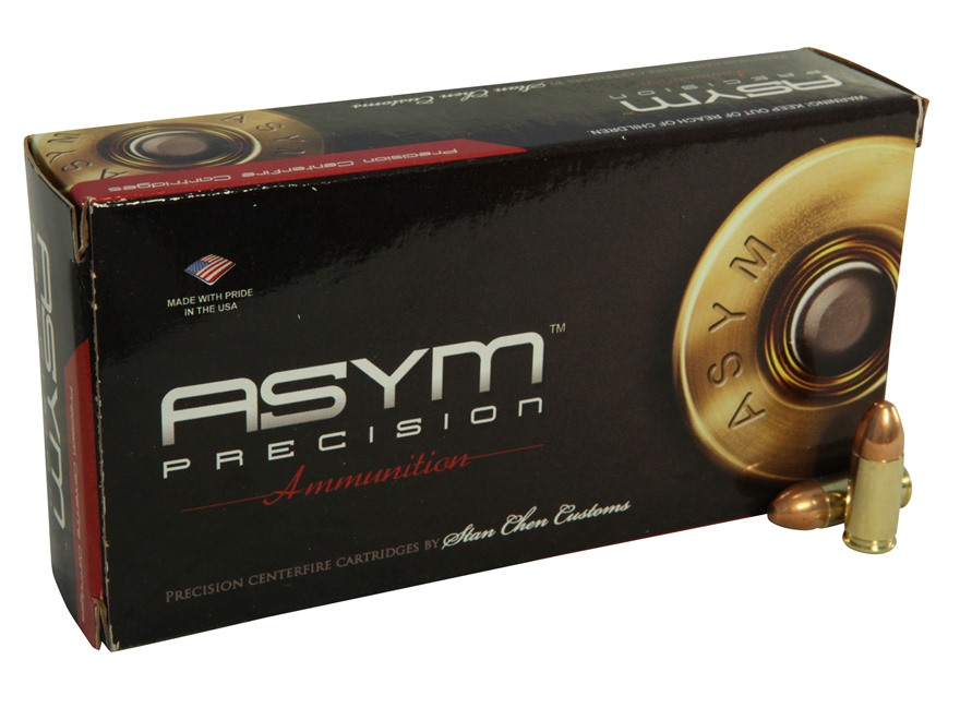 ASYM Precision Practical Match Ammunition 9mm Luger 147 Grain Full Metal Jacket Box of 50