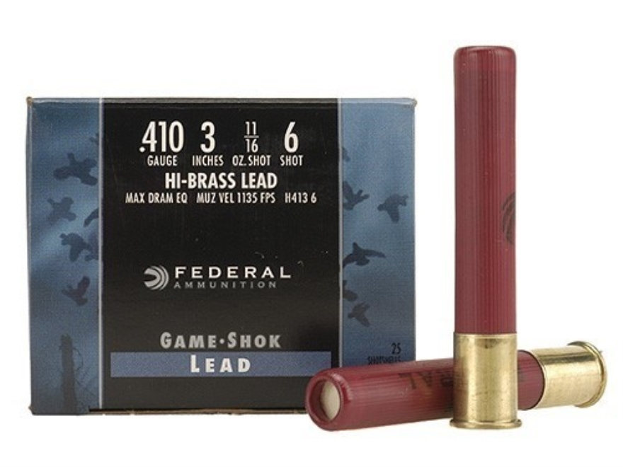 "Federal Game-Shok Hi-Brass Ammunition 410 Bore 3"" 11/16 oz #6 Shot Box of 25"