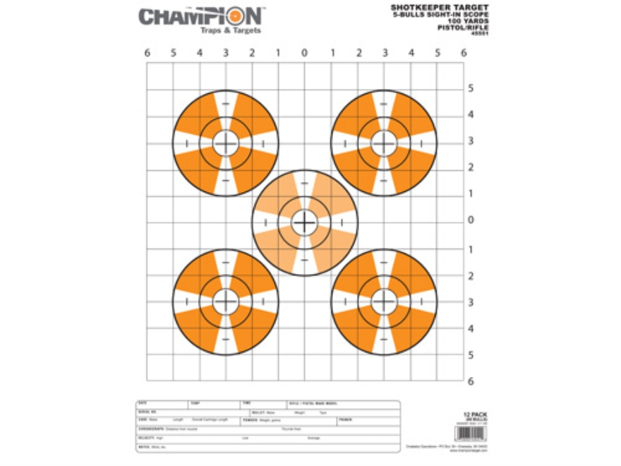 "Champion ShotKeeper Large Sight-In Targets 14"" x 18"" Paper Pack of 12"