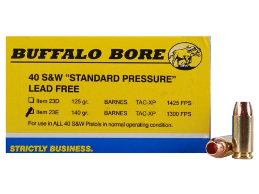 Buffalo Bore Ammunition 40 S&W 140 Grain Barnes TAC-XP Hollow Point Lead-Free Box of 20