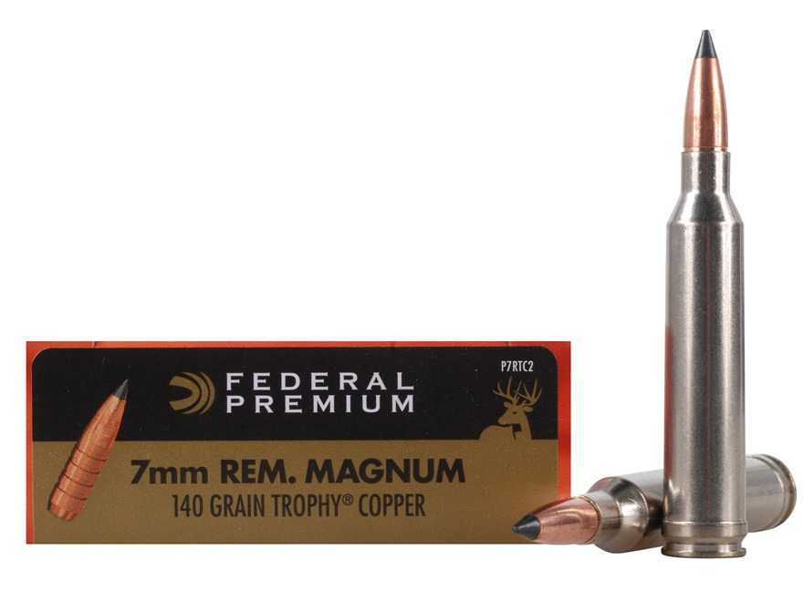Federal Premium Vital-Shok Ammunition 7mm Remington Magnum 140 Grain Trophy Copper Tipped Boat Tail Lead-Free Box of 20