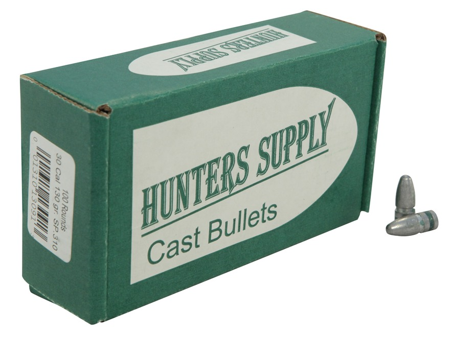 Hunters Supply Hard Cast Bullets 30 Caliber 7.62x39mm (310 Diameter) 130 Grain Lead Spi...