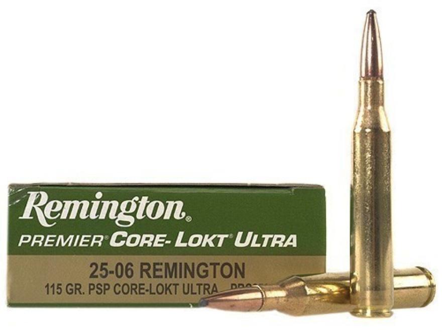Remington Premier Ammunition 25-06 Remington 115 Grain Pointed Soft Point Core-Lokt Ultra Bonded Box of 20