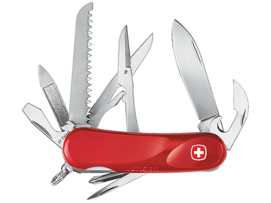 Wenger Swiss Army Evolution 18 Folding Knife 15 Function Swiss Surgical Steel Blades Polymer Scales Red