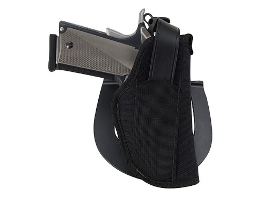"BLACKHAWK! Paddle Holster Right Hand Large Frame Semi-Automatic with Laser 4.5"" to 5"" Nylon Black"