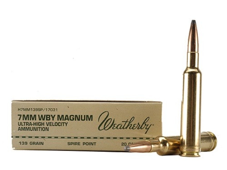 Weatherby Ammunition 7mm Weatherby Magnum 139 Grain Hornady Spire Point Box of 20