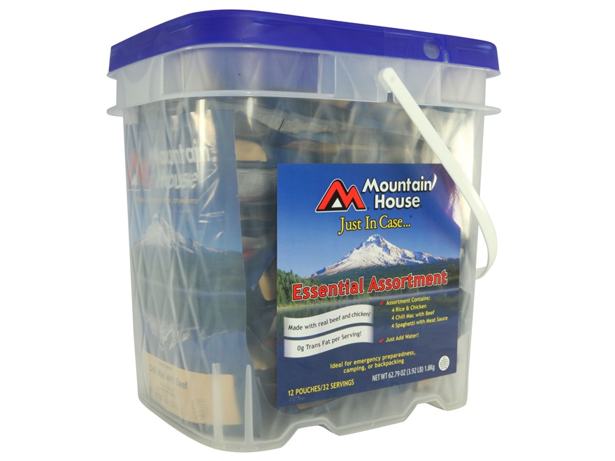 Mountain House Just in Case Essentials Freeze Dried Food Bucket 32 Servings