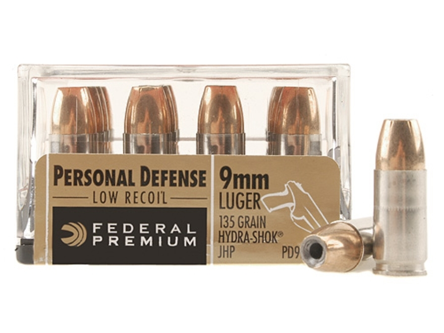 Federal Premium Personal Defense Reduced Recoil Ammunition 9mm Luger 135 Grain Hydra-Shok Jacketed Hollow Point Box of 20