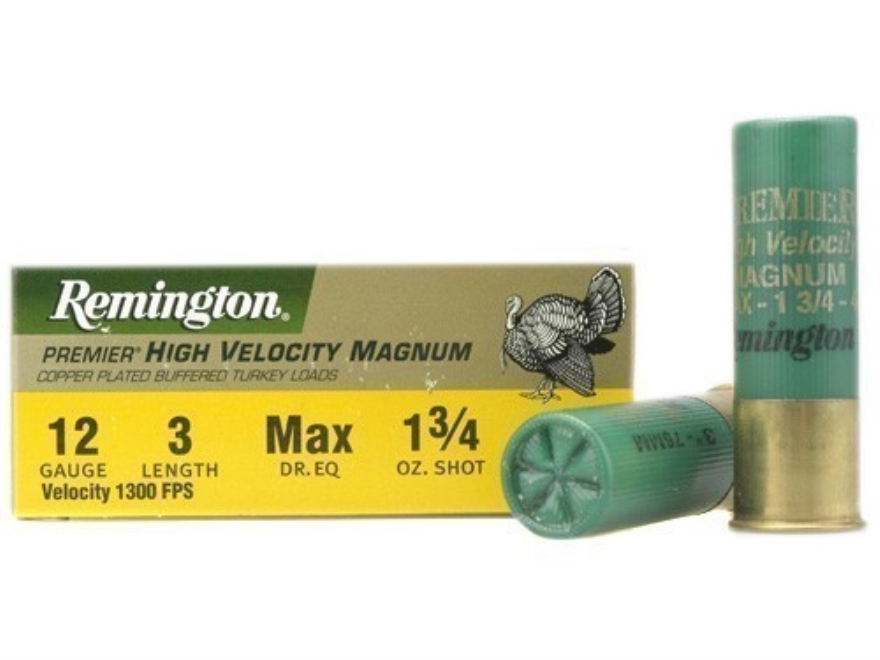 "Remington Premier Magnum Turkey Ammunition 12 Gauge 3"" High Velocity 1-3/4 oz of #4 Copper Plated Shot Box of 10"