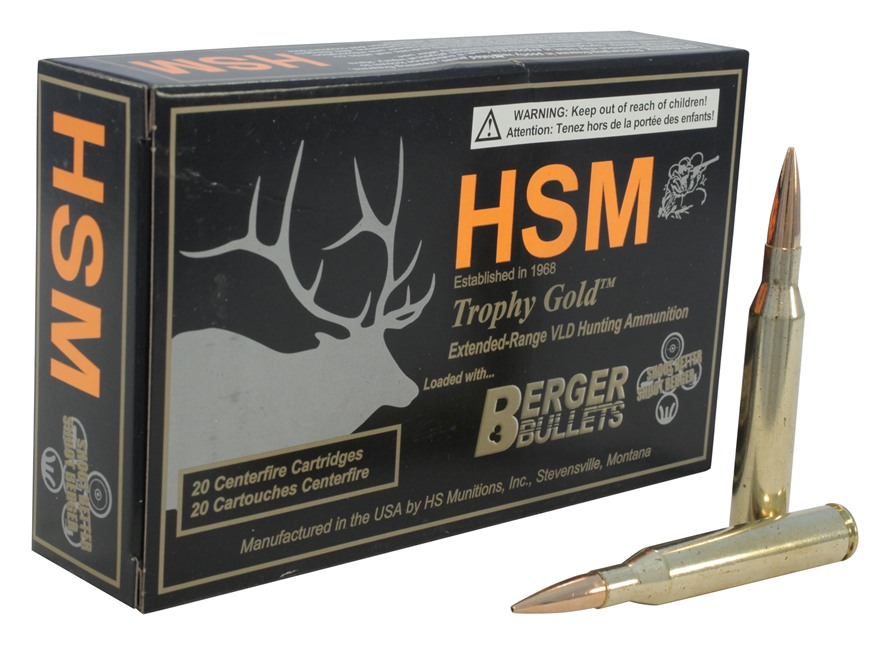 HSM Trophy Gold Ammunition 25-06 Remington 115 Grain Berger Hunting VLD Hollow Point Boat Tail Box of 20