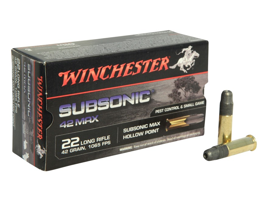Winchester 42 Max Ammunition 22 Long Rifle 42 Grain Lead Hollow Point Subsonic Box of 50