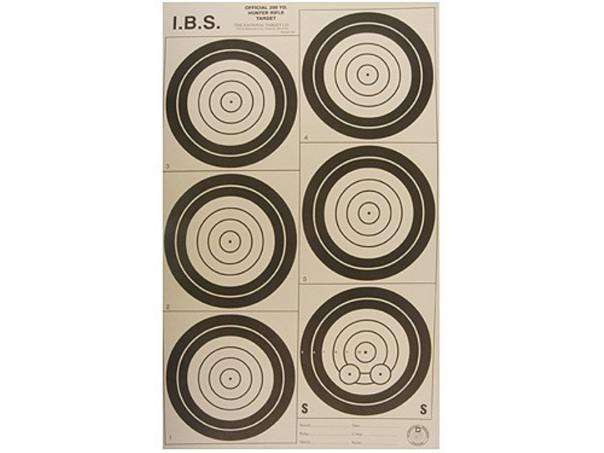 National Target International Bench Rest Shooters Target IBS 200 YD Hunter Rifle Paper Package of 100