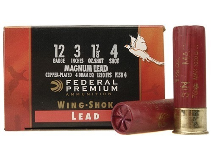 "Federal Premium Wing-Shok Ammunition 12 Gauge 3"" 1-7/8 oz Buffered #4 Copper Plated Shot Box of 25"