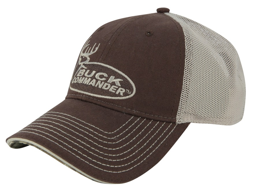 Buck Commander Mesh Logo Cap Cotton Polyester Blend Brown and White