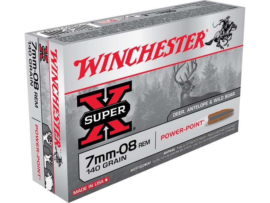 Winchester Super-X Ammunition 7mm-08 Remington 140 Grain Power-Point Box of 20