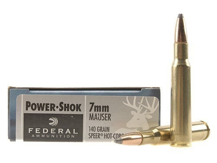 Federal Power-Shok Ammunition 7x57mm Mauser (7mm Mauser) 140 Grain Speer Hot-Cor Soft Point Box of 20