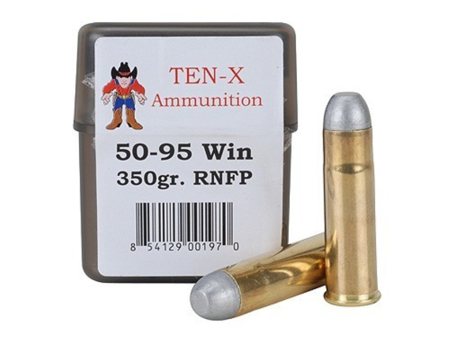 Ten-X Cowboy Ammunition 50-95 WCF 350 Grain Round Nose Flat Point Box of 20