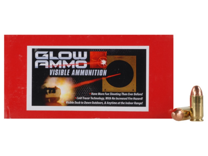 Glow Ammo Visible Ammunition 45 ACP 230 Grain Round Nose Box of 50
