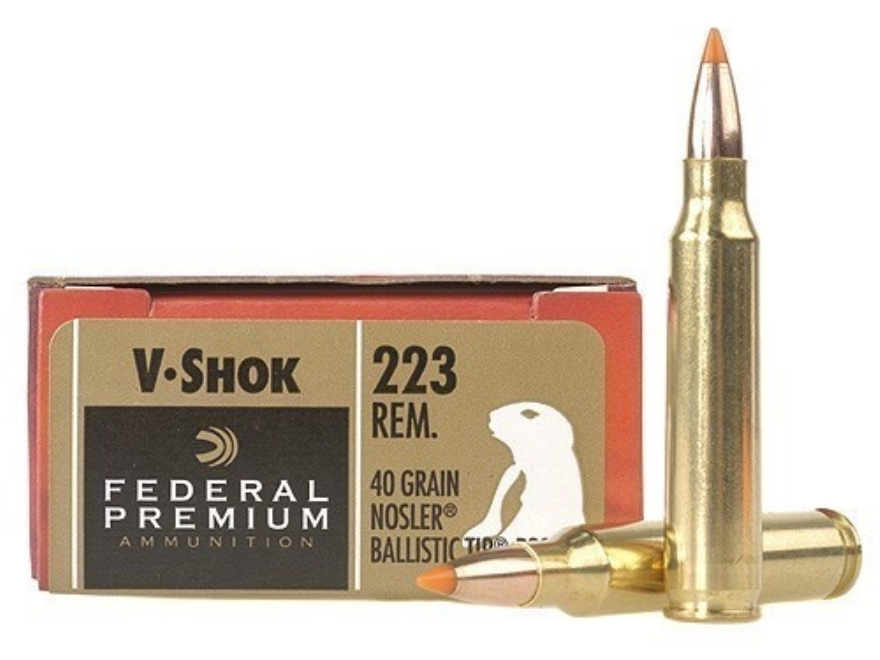 Federal Premium V-Shok Ammunition 223 Remington 40 Grain Nosler Ballistic Tip Box of 20