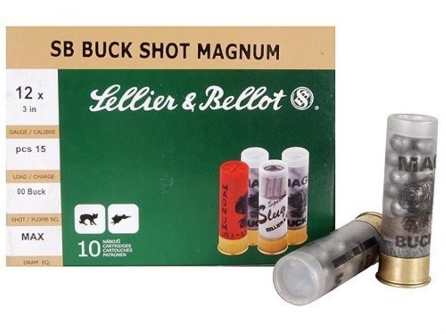 """Sellier & Bellot Ammunition 12 Gauge 3"""" 00 Buckshot 15 Pellets Box of 10"""