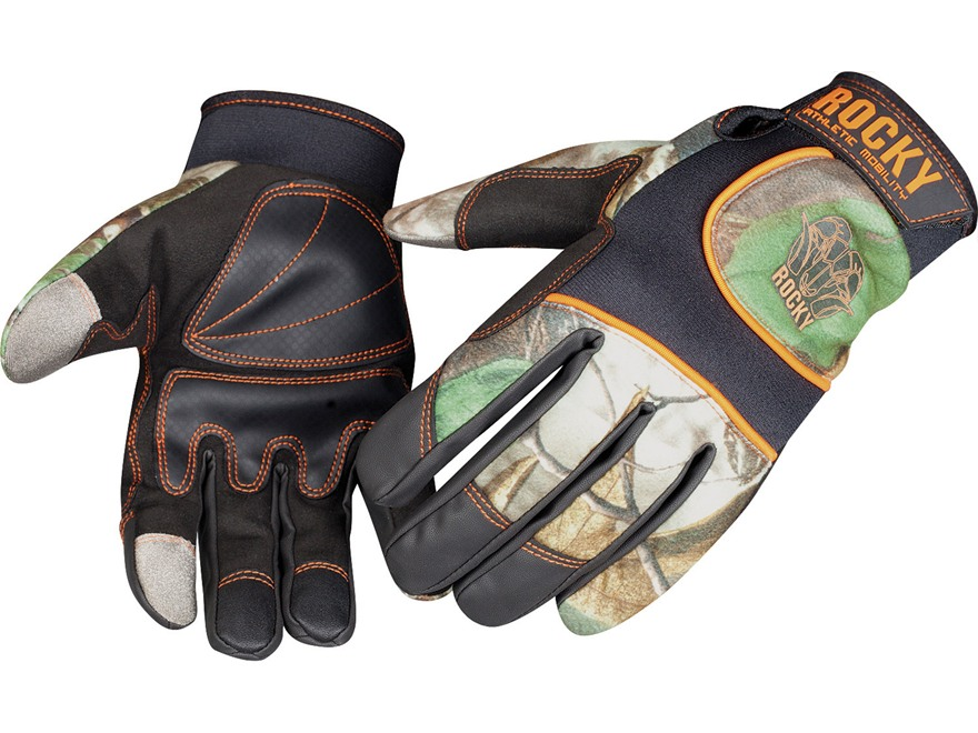 Rocky Athletic Mobility Level 3 Touchscreen Stretch Back Gloves Polyester Realtree AP Camo Large