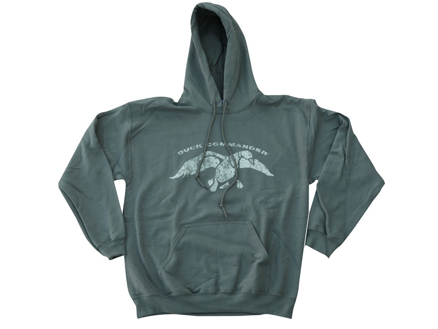 Duck Commander Men's Logo Hooded Sweatshirt Cotton Moss