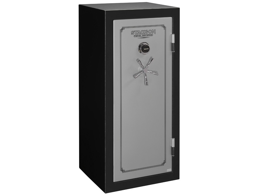 Stack-On Total Defense Fire-Resistant 22-Gun Safe Matte Black and Silver with Door Storage