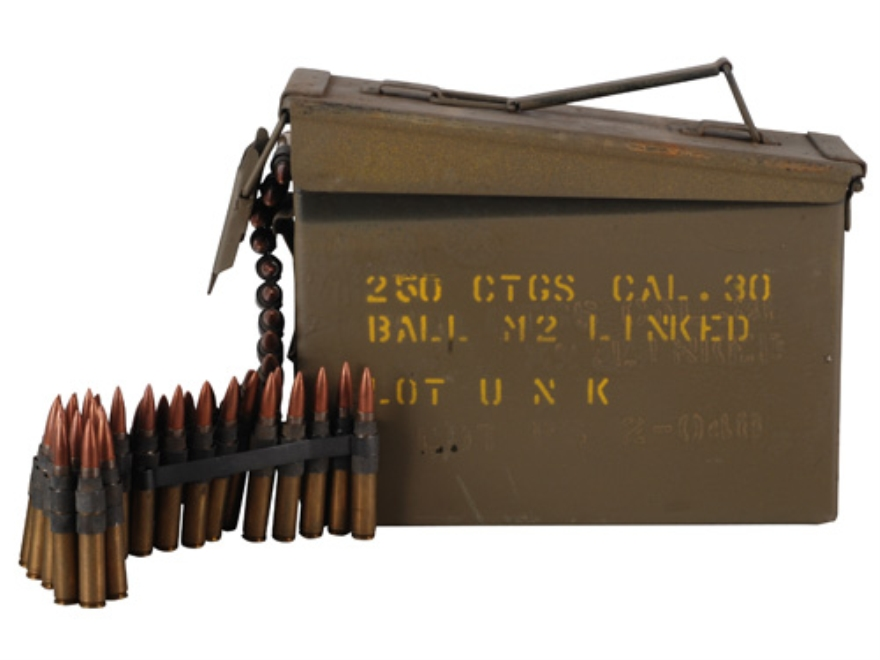Surplus Ammunition 30-06 Springfield 150 Grain Full Metal Jacket Boat Tail M2 Ball PS Headstamp Boxer Primed 250 Linked Rounds in Ammo Can
