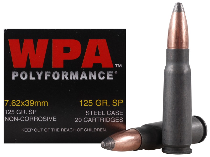 Wolf Ammunition 7.62x39mm 125 Grain Jacketed Soft Point (Bi-Metal) Steel Case Berdan Primed Case of 1000 (50 Boxes of 20)