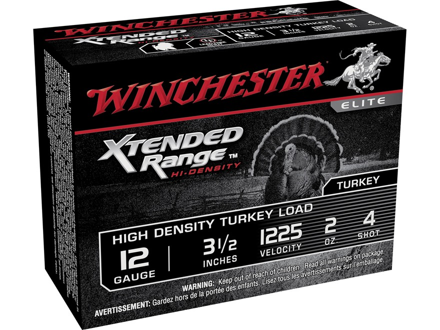 "Winchester Xtended Range Turkey Ammunition 12 Gauge 3-1/2"" 2 oz #4 Hi-Density Shot Box of 10"