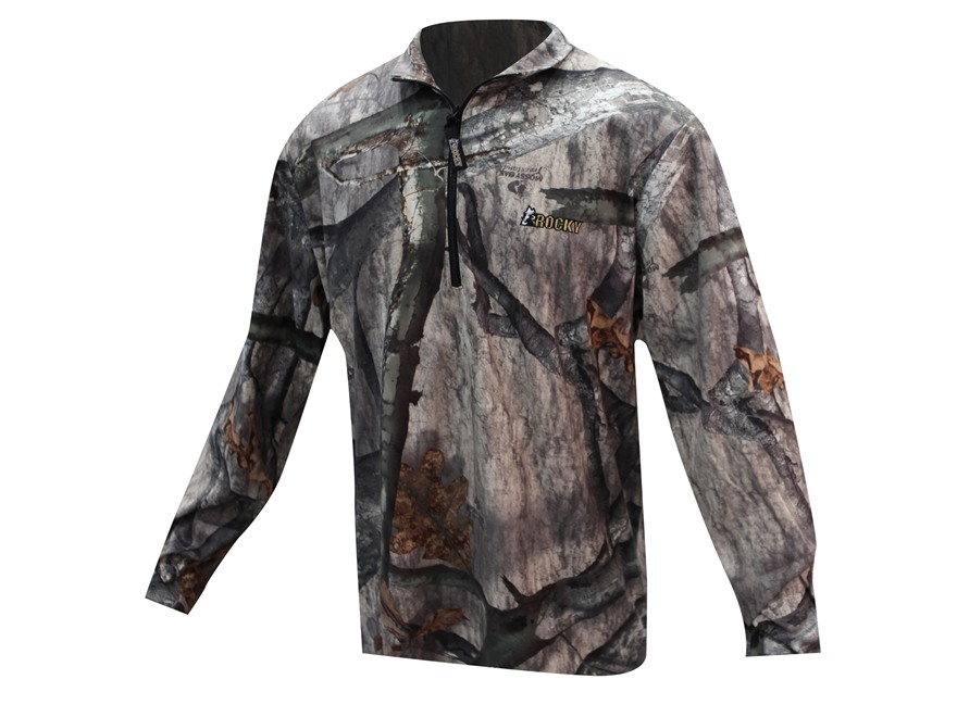 Rocky Men's SilentHunter 1/2 Zip Long Sleeve Shirt Polyester Mossy Oak Treestand Camo M...