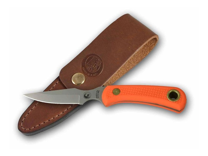 "Knives of Alaska Cub Bear Fixed Blade Knife 2.75"" Drop Point D2 Tool Steel Blade SureGrip Handle Orange"