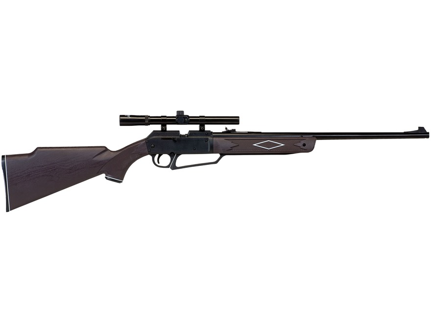 Daisy Powerline 880 Air Rifle 177 Caliber BB and Pellet with Scope 4x 15mm Polymer Brown Stock Blue Barrel