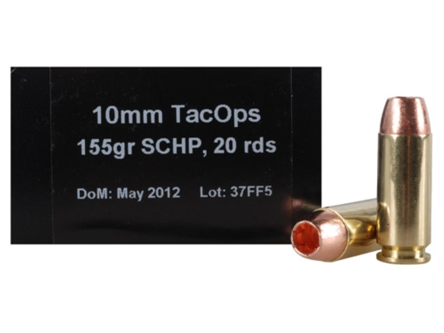 PNW Arms TacOps Ammunition 10mm Auto 155 Grain Solid Copper Hollow Point Lead-Free Box ...