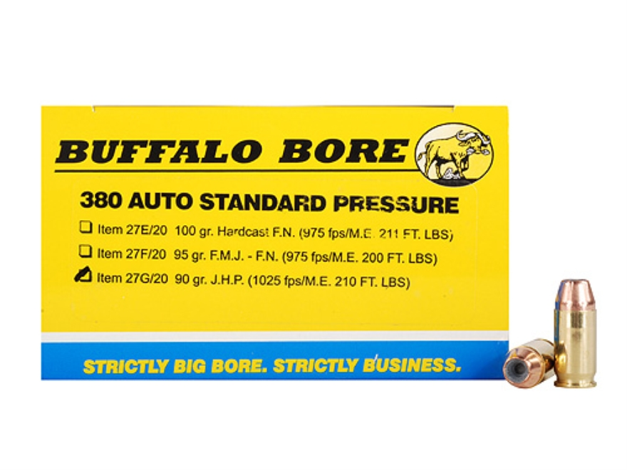 Buffalo Bore Ammunition 380 ACP 90 Grain Jacketed Hollow Point Box of 20
