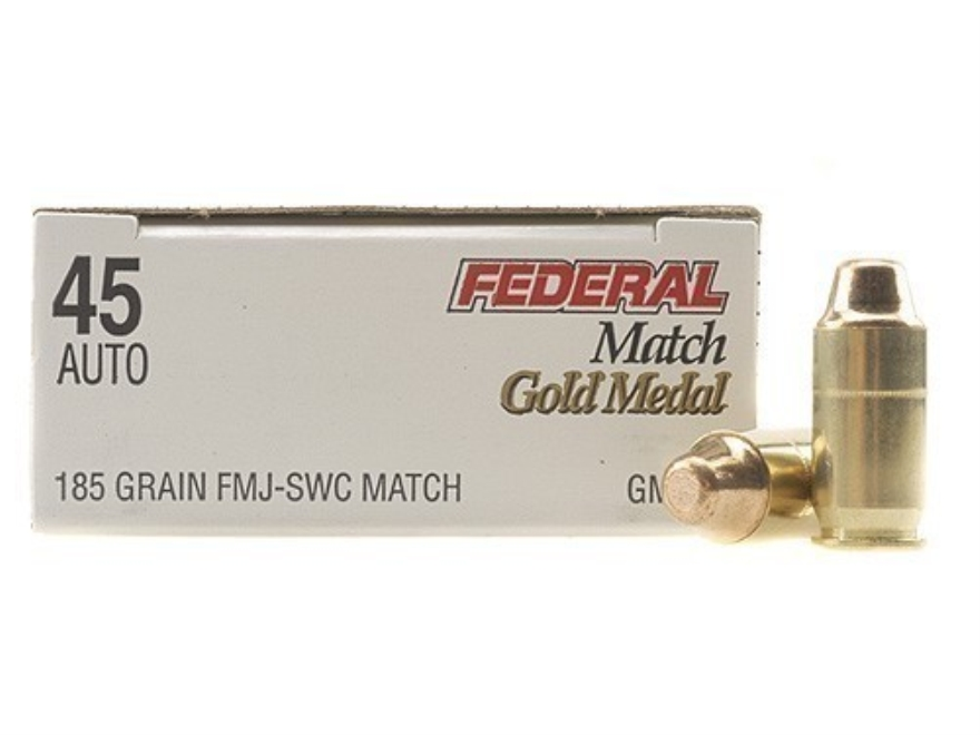 Federal Premium Gold Medal Match Ammunition 45 ACP 185 Grain Full Metal Jacket Semi-Wad...