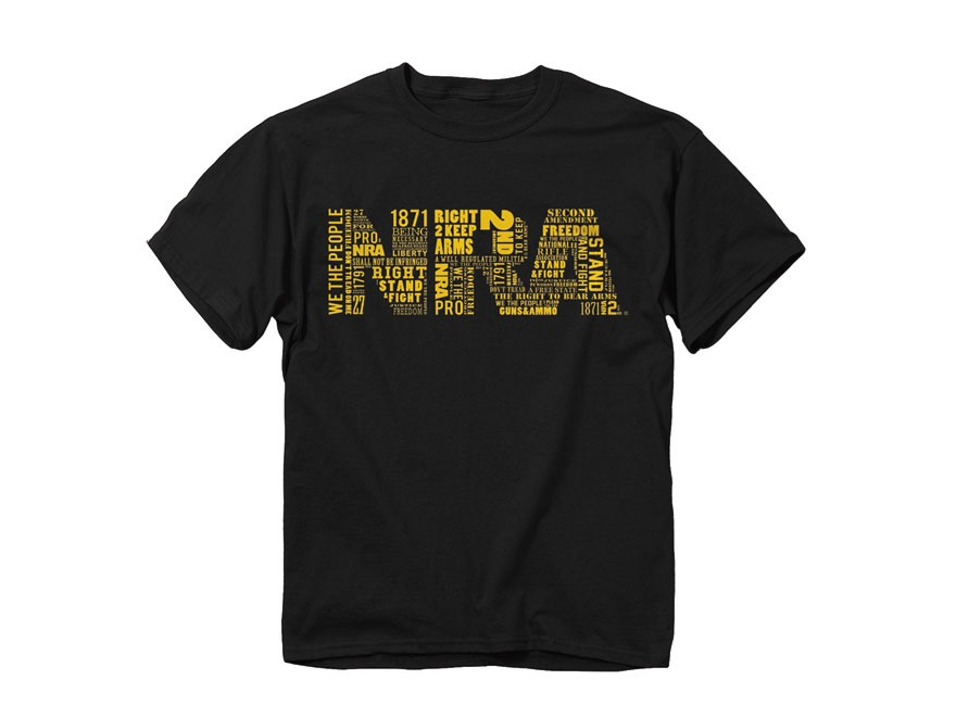 NRA Men's Word Fill Logo T-Shirt Short Sleeve Cotton Black