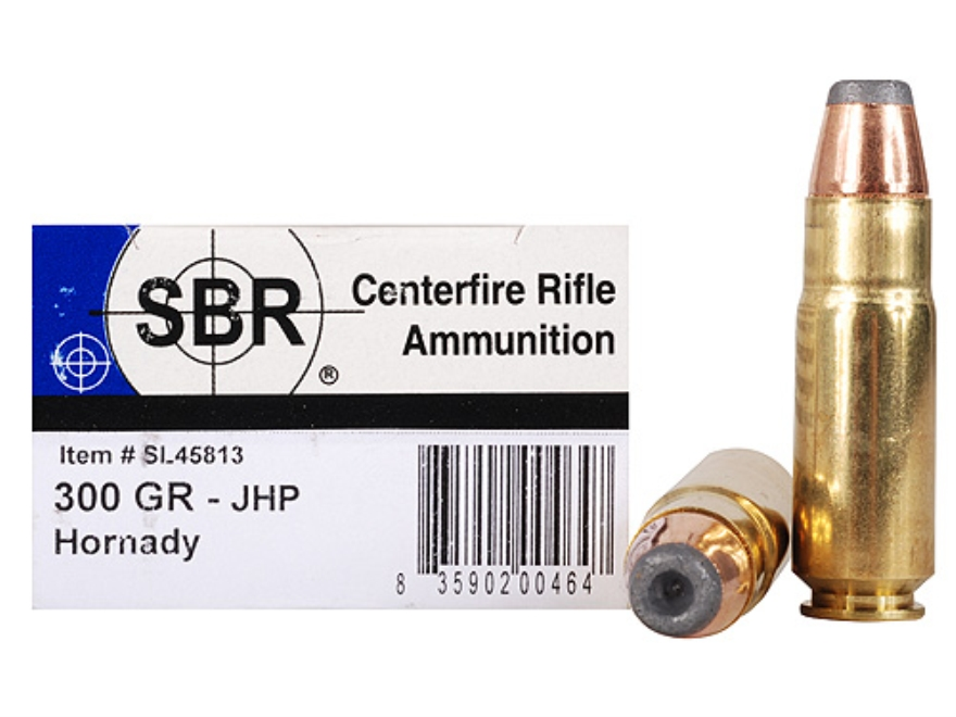 SBR Ammunition 458 SOCOM 300 Grain Hornady InterLock Round Nose Box of 20