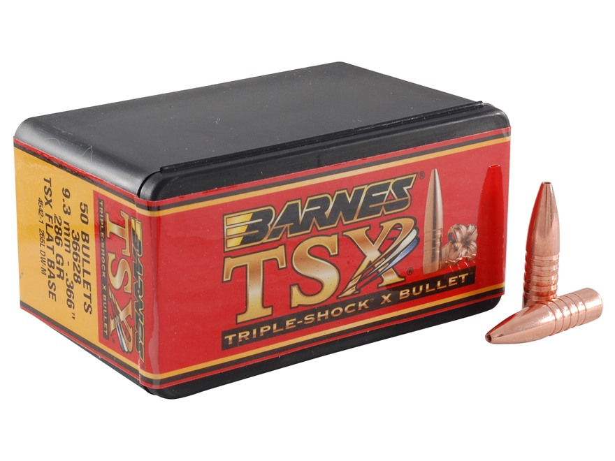 Barnes Triple-Shock X Bullets 9.3mm (366 Diameter) 286 Grain Hollow Point Flat Base Lead-Free Box of 50