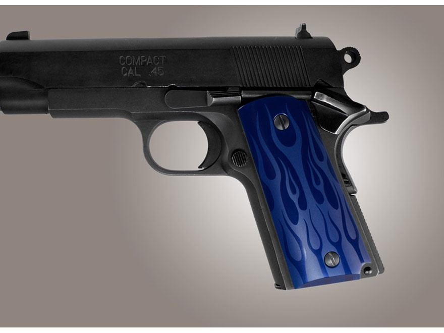 Hogue Extreme Series Grip 1911 Officer Flames Aluminum Blue